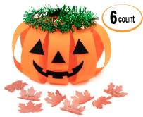 Thanksgiving Pumpkin Hats Making Activity Kit, 6-Pack. Funny Props Orange Jack-O-Lantern as Party Craft Supplies for Kids. Great as Decoration/Prop/Costume for Boys and Girls on New Year Party