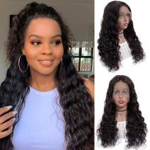 13x6 Lace Front Wigs Human Hair Full Lace Wigs for Black Women 12 Inch BLY Brazilian Loose Deep Wave Hair Wet and Wavy Human Hair with Baby Hair Pre Plucked