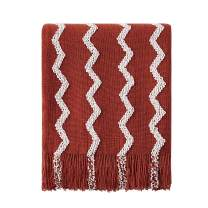 """Bourina Fluffy Chenille Knitted Fringe Throw Blanket Lightweight Soft Cozy for Bed Sofa Chair Throw Blankets, 50"""" x 60"""" (Rust, 50""""x60"""")"""
