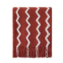 "Bourina Fluffy Chenille Knitted Fringe Throw Blanket Lightweight Soft Cozy for Bed Sofa Chair Throw Blankets, 50"" x 60"" (Rust, 50""x60"")"
