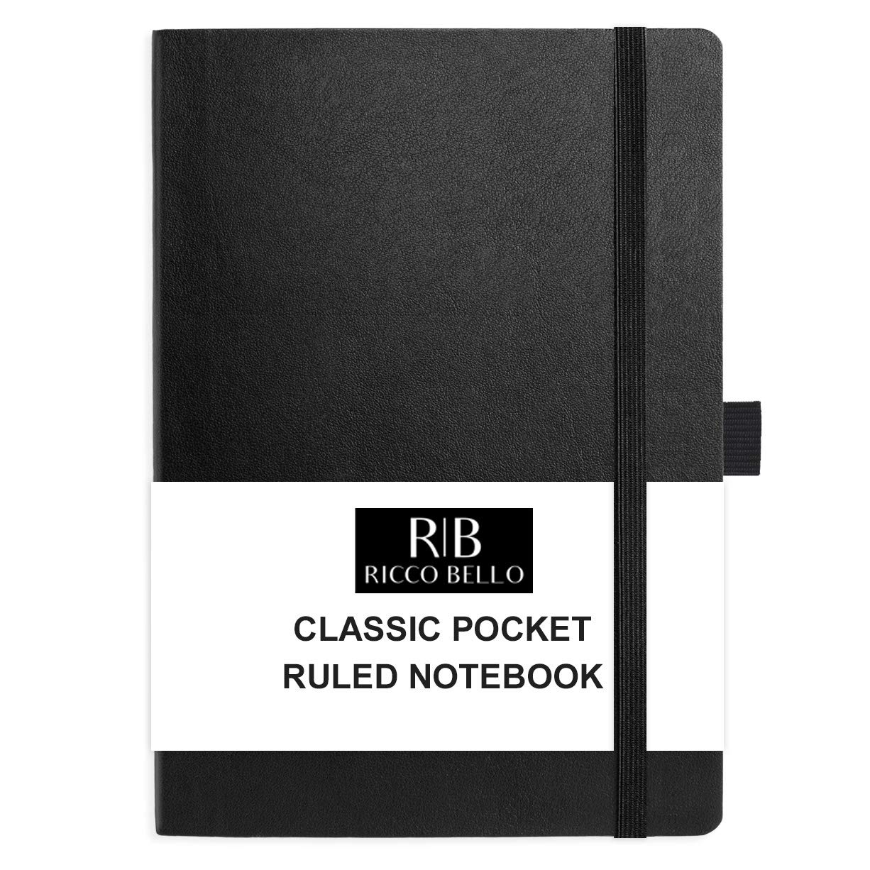 RICCO BELLO Small Pocket College Ruled Hardcover Journal Notebook, Vegan Leather Cover, Pen Loop, Bookmark, Storage Pocket, 192 Pages, 4.25 x 6 Inches (Black)