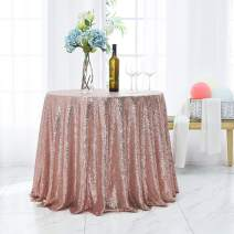 Hahuho 50 inch Round Sequin Tablecloth Rose Gold, Glitter Tablecloth for Bridal Shower Decorations, Birthday, Wedding, Dessert, Banquet(50 inch Round, Rose Gold)