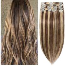 22 inch 110g Clip in Remy Human Hair Extensions Full Head 8 Pieces Set Long length Straight Very Soft Style Real Silky for Beauty #4/27 Medium Brown/Dark Blonde