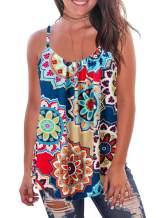 Kaei&Shi Print Long Vest,Flowy Tank Top for Women,Loose Cami,Pleated Dressy Swing Spaghetti Strap Camisole