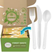 Ecopack Compostable Cutlery – 150 Count Compostable Utensils Packed in Single Travel Packs - Biodegradable Forks, Spoons and Knives in Eco Friendly Recyclable Paper Bags by Nook & Fork (Fresh White)