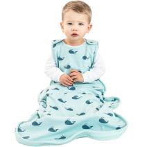 Woolino 4 Season Baby Sleeping Bag, Merino Wool Baby Sleep Sack Gown, 2m-2yrs, Whales