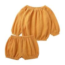 Unisex Baby Boy Girls Cotton Linen Clothes Long Sleeve Shirt Top + Bloomer Shorts Summer Outfits 2Pcs Set