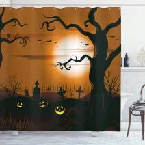 """Ambesonne Halloween Shower Curtain, Leafless Creepy Tree with Twiggy Branches at Night in Cemetery Graphic Drawing, Cloth Fabric Bathroom Decor Set with Hooks, 70"""" Long, Brown Tan"""
