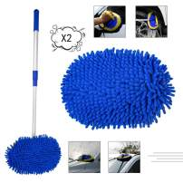 bzczh Car Wash Mop Adjustable Long Handle, Car Brush Mitt 2 in 1 Chenille Microfiber 46 inch Extension Pole, Car Washing Brush, No Hurt Scratch Free for Cleaning Truck, 2 Replacement Mop Head (Blue)