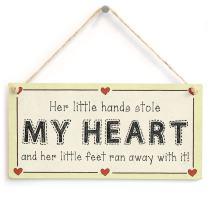 "Meijiafei Her Little Hands Stole My Heart… - Baby Girl Newborn Gift Love Heart Sign 10"" X 5"""