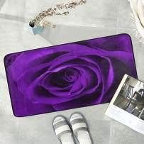 Naanle Floral Flower Anti Fatigue Kitchen Floor Mat, Purple Rose Non Slip Absorbent Comfort Standing Mat Kitchen Runner Rug for Hallway Entryway Bathroom Living Room Bedroom 39 x 20 Inches