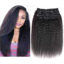"""YAMI 12"""" Kinky Straight Clip in Human Hair Extensions Clip ins 100% Remy Hair for Women Yaki Straight Clip ins Real Human Hair 120Gram/10Pcs Black Hair Extensions (12, Kinky Straight)"""