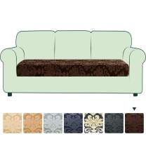 CHUN YI Stretch Couch Cushion Cover Replacement, Fitted Loveseat Sofa Chair Seat Slipcover Furniture Protector, Damask Pattern Spandex Jacquard Fabric (Large, Chocolate)