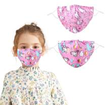 Woplagyreat 4PACK Kids Adjustable Reusable Face Cover Breathable Cute Print Cloth for Outdoor