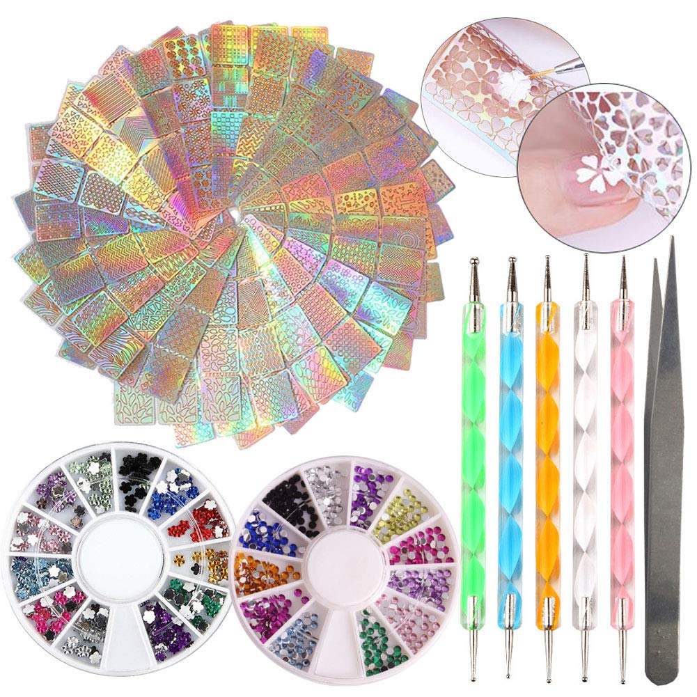 24sheet Holographic Vinyls Nail Art Stickers Geometric Flower Nail Tips Guides, Dotting Tools Pen, 2 Box Nail Rhinestone, Water Nail Decals with Tweezers Applicator