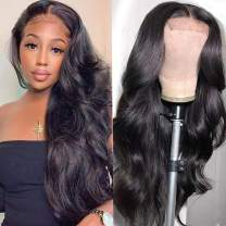 Ucrown Hair Body Wave 5x5 Transparent Lace Closure Human Hair Wigs for Black Women Brazilian Unprocessed Virgin Human Hair Lace Front Wigs Pre Plucked with Baby Hair 150% Density Natural Black (5x5,28inch)