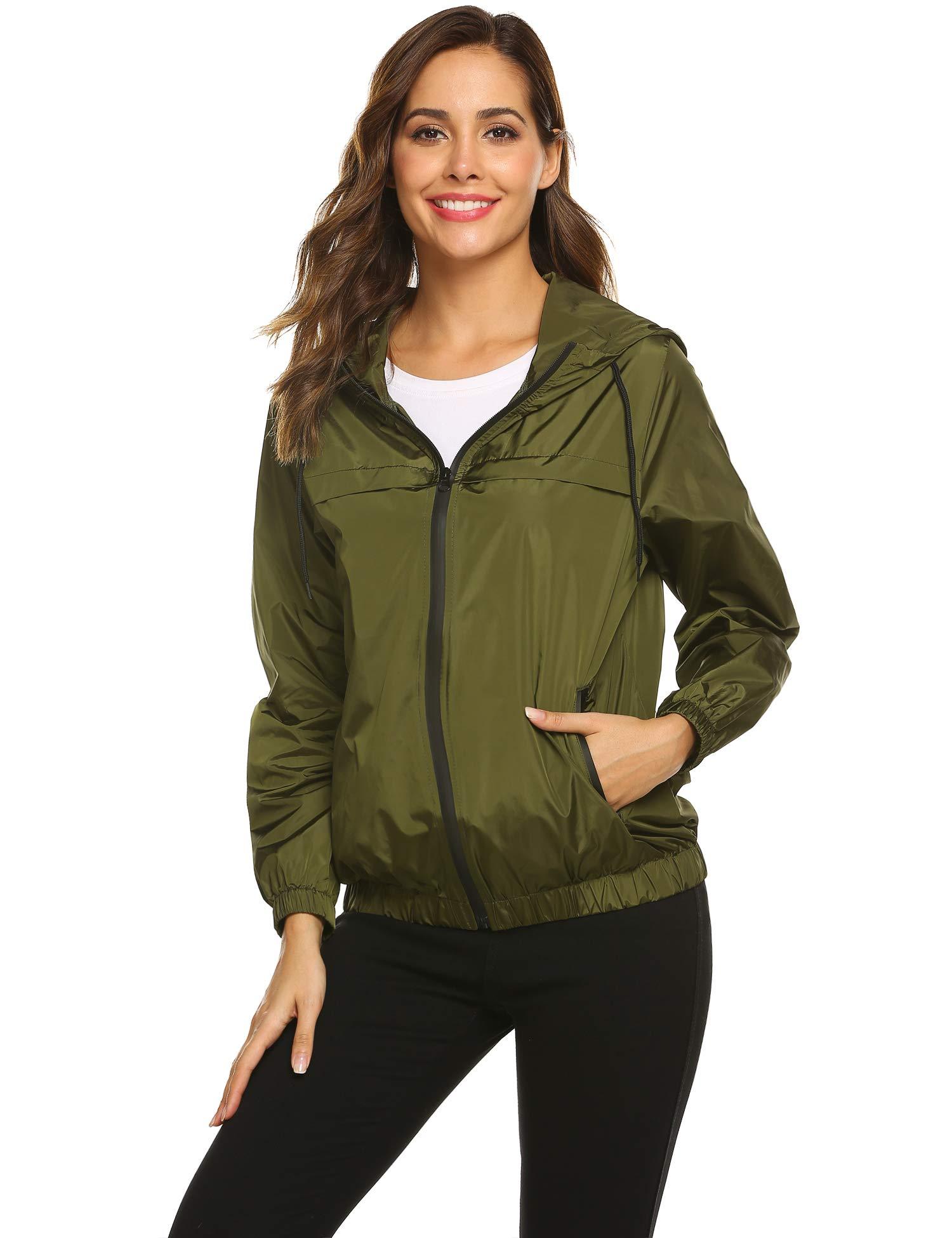 Hotouch Women's Raincoat Waterproof Hooded Windbreaker Lightweight Active Outdoor Rain Jacket Travel Trench Rain Coat Jacket