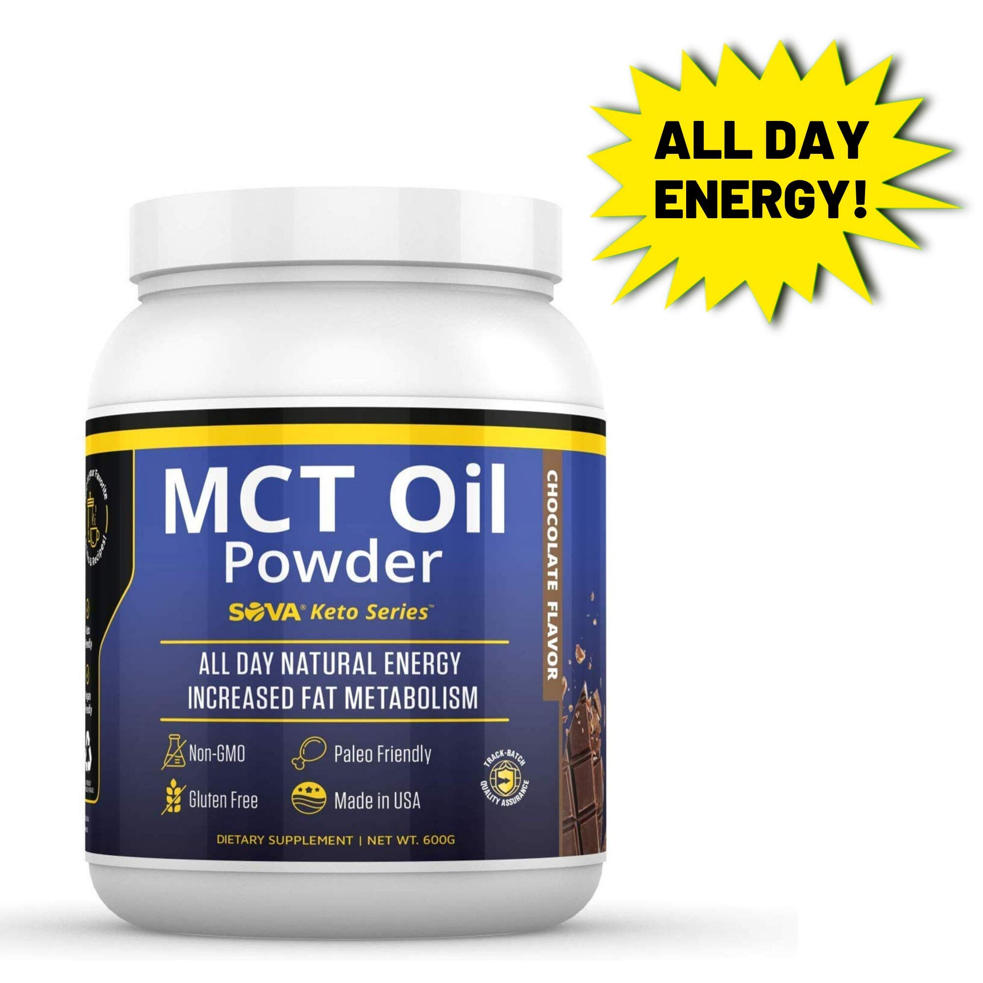 SOVA Keto Series MCT Oil Powder All Day Natural Energy and Increased Metabolism, Paleo and Ketogenic Friendly, Dissolves Easily in Coffee, Shakes, and Smoothies, 60 Servings, Chocolate