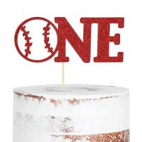 WAOUH Baseball ONE Cake Topper - Golden Glitter Cake Topper for Birthday Party, Cake Decoration for Personalized, Photo Booth Props, Baseball Sign Cake Flag(Red)