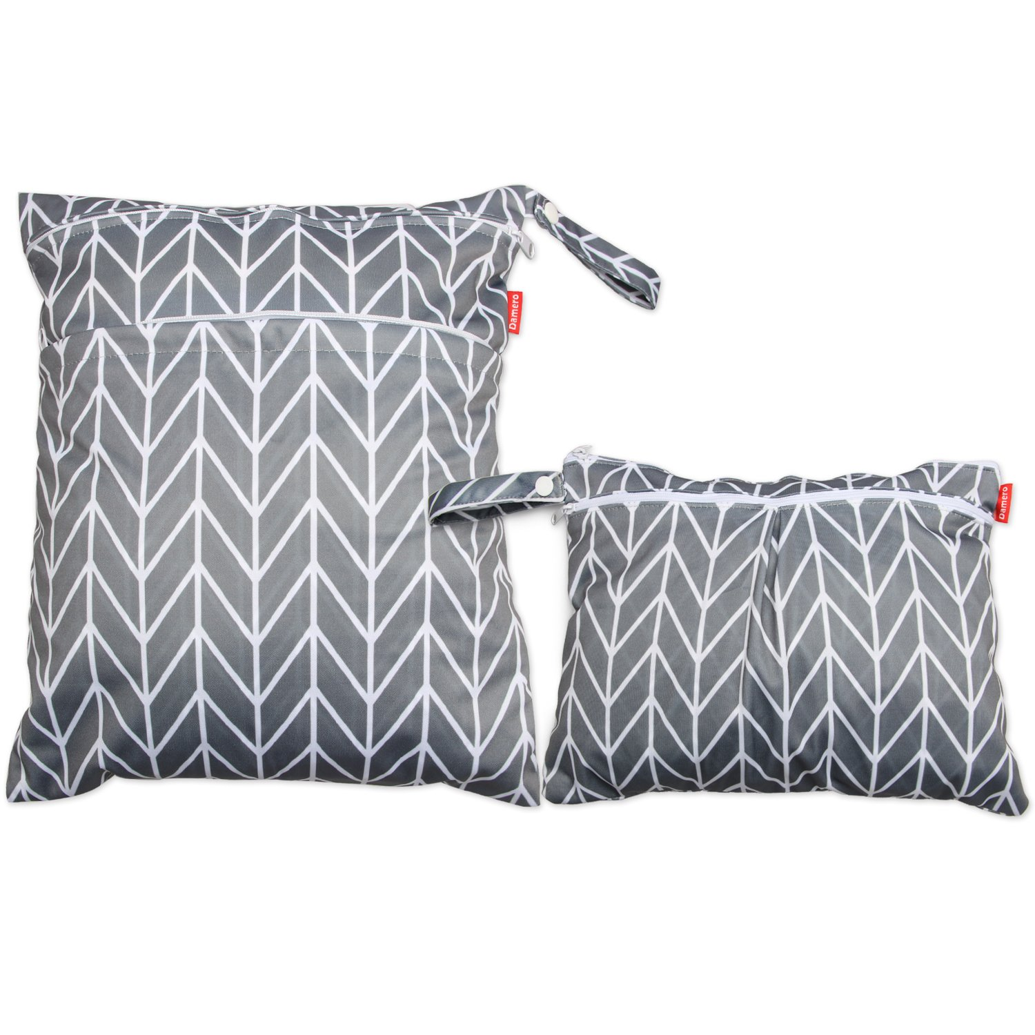 Damero 2pcs Travel Wet and Dry Bag with Handle for Cloth Diaper, Pumping Parts, Clothes, Swimsuit and More, Easy to Grab and Go, Gray Arrows