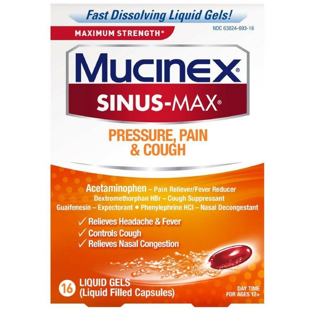 Mucinex Sinus-Max Max Strength Pressure, Pain & Cough Liquid Gels 16 ea (Pack of 3)