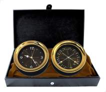 "Master-Mariner Halo Collection Gift Set, 5.85"" Diameter Clock and Comfort Meter Instruments, Gold and Black Two Tone Finish, Midnight Gold dial"