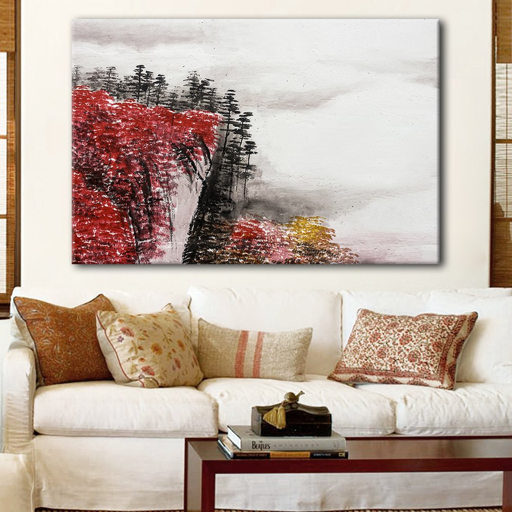 wall26 Canvas Wall Art - Chinese Ink Painting Style Red Mountain Cliff with Clouds - Giclee Print Gallery Wrap Modern Home Decor Ready to Hang - 16x24 inches
