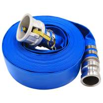 """1.5"""" x 50' Blue PVC Backwash Hose for Swimming Pools, Heavy Duty Discharge Hose Reinforced Pool Drain Hose with Aluminum Camlock C and E Fittings"""