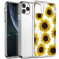 SPEVERT iPhone 11 Pro Max Case 6.5 inches, Flower Pattern Printed Clear Design Transparent Hard Back Case with TPU Bumper Cover for iPhone 11 Pro Max Case 6.5 inches 2019 Released - Sunflower