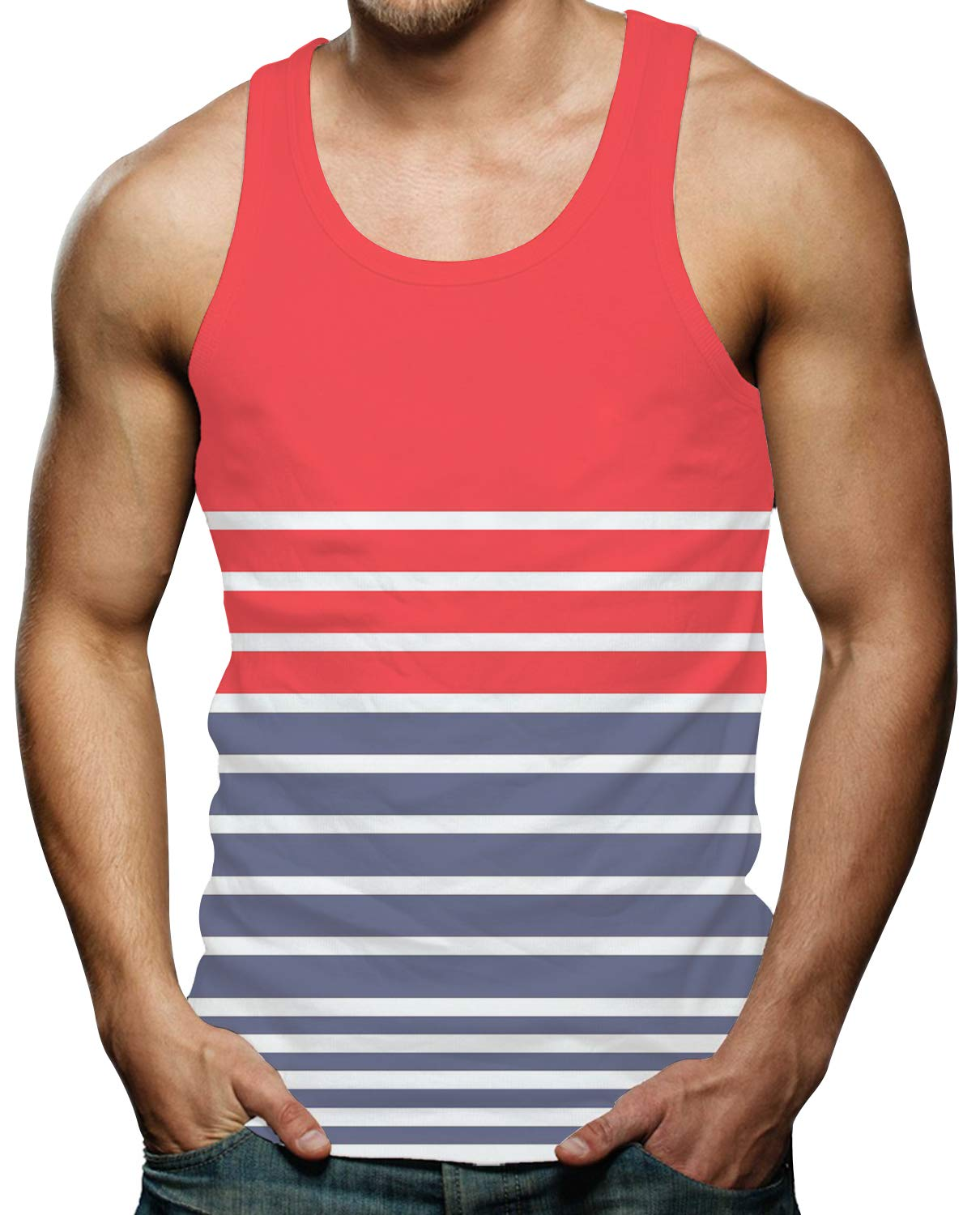 RAISEVERN Mens 3D Graphic Workout Tank Top Cool Muscle Sleeveless T Shirts S-XXL