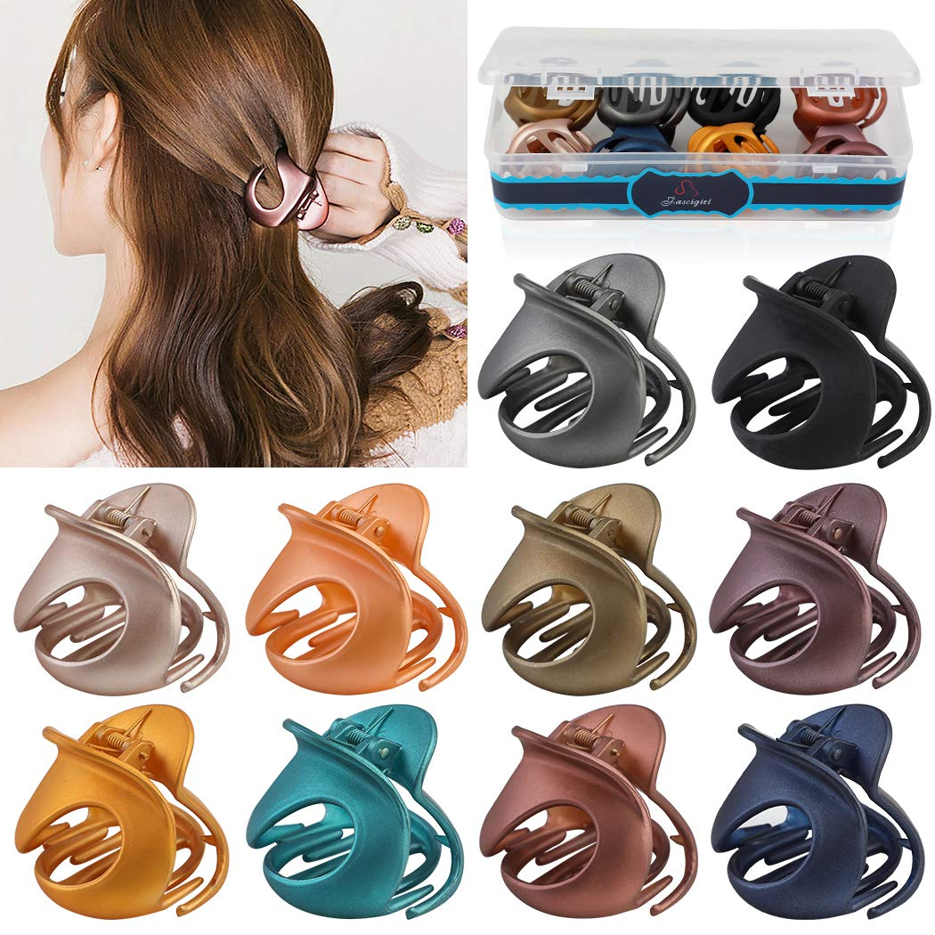 Hair Claw Clips,Fascigirl 10PCS Jaw Clips Vintage Non Slip Simple Irregular Hair Clamps Fashion Claw Clips Hair Accessories For Women Girls