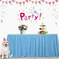 14ft Blue Tutu Table Skirt Decoration with Gold Brim TulleTableware Dress Skirting for Wedding Brithday Bridal Baby Shower Party L14ft by H30in Blue