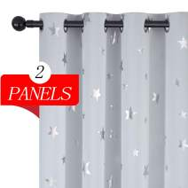 Estelar Textiler Greyish White Blackout Window Curtains Room Darkening Curtains Star Print Room Curtains Grommet Thermal Insulated Curtains for Baby Nursery Bedroom 52x63 inch 1 Pair