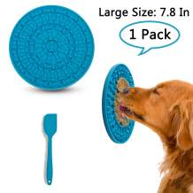 iNeibo 7.8 Inches Big Dog Lick Pad for Dog Slow Feeder Lick Pad for Dog Bathing Grooming and Training Peanut Butter Lick Pad Durable Silicone Distraction Device with Strong Suction Dog Lick Mat