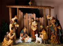 AOFOTO 6x4ft Christ Birth Backdrop Father Shepherd Jesus Nativity Photography Background Lamb Stable Saint Pray Bless Bible The Epiphany of Our Lord Photo Studio Props Church Play Decoration Wallpaper