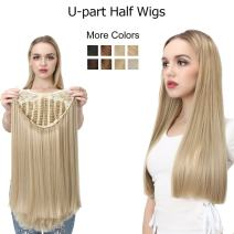"""Straight U part Half Wig Blonde For White Women Clip in Synthetic Long Natural 1PC Full Head Thick None Lace Front Cosplay Hair Wigs Japan Kanekalon Heat Resistant Fiber SARLA 24"""" UW011&613"""