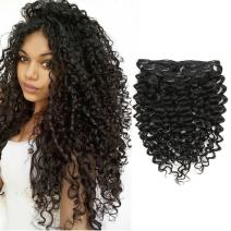Clip in Human Hair Extensions Afro Jerry Curly 3B 3C Real Hair Clip in Extensions For Black Women Natural Black Color 100% Brazilian African American Hair Extensions (14 inch, Jerry Curly #1B)