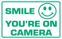 """Supply360 Premium Smile Your On Camera Sign, 2.25"""" x 3.5"""", White/Green, Laser Engraved Acrylic and UV Stable, for Indoor & Outdoor Use"""