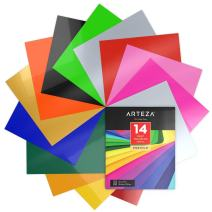 ARTEZA HTV Vinyl Bundle, 14 Multi-Color Iron On Heat Transfer Sheets, 10x12 Inches, Flexible & Easy to Weed, Use with Any Craft Cutting Machine, Boxed