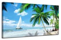 "Arjun Canvas Wall Art Tropical Palm Tree Beach Picture Blue Ocean Painting Modern Hawaii Landscape Artwork Prints, 48""x24"" Framed Large for Living Room Bedroom Kitchen Dinning Room Home Office Decor"