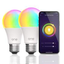 One Power by Promounts OPLB092-2pk Amazon Alexa and Google Assistant Compatible RGB+CCT Smart Light Bulb, Double Pack, White, 2 Piece
