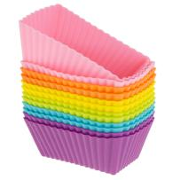 Freshware Silicone Baking Cups [12-Pack] Reusable Cupcake Liners Non-Stick Muffin Cups Cake Molds Cupcake Holder in 6 Rainbow Colors, Rectangle