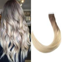 Full Shine Seamless Tape In Hair Extensions Human Hair 22 Inch Balayage Color 7B Fading To 613 Blonde Tape Hair Extensions 20 Pcsseamless Skin Weft Hair Extensions 50 Grams