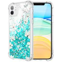 Caka Case for iPhone 11 Flower Glitter Case Floral Pattern for Girls Women Liquid Bling Cushion Protective Luxury Flowing Green Flower Phone Case for iPhone 11 (6.1 inch)(Teal Flower)
