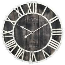 Westzytturm Wooden Wall Clocks Battery Operated,Vintage Frame Metal Roman Numeral Large Farmhouse Silent Big Digital Mantel Clocks,for Living Room Decor Bedrooms Home Kitchen Office(Black 18 inch)