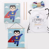 "Sozo - Colorful DIY Design Needlepoint Embroidery Craft Kit for Beginners. Wooden Dowels Included for Easy Display. Easier Than Cross Stitch. Size - 12.75"" X 11"" (Super Hero)"