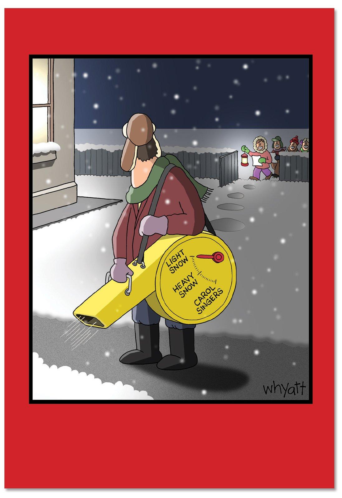 12 'Snow Blower Settings' Boxed Christmas Cards w/Envelopes 4.63 x 6.75 inch), Humorous Christmas Caroler Holiday Cards, Funny Christmas Cartoon Holiday Notes, Unique Christmas Stationery B2493XSG