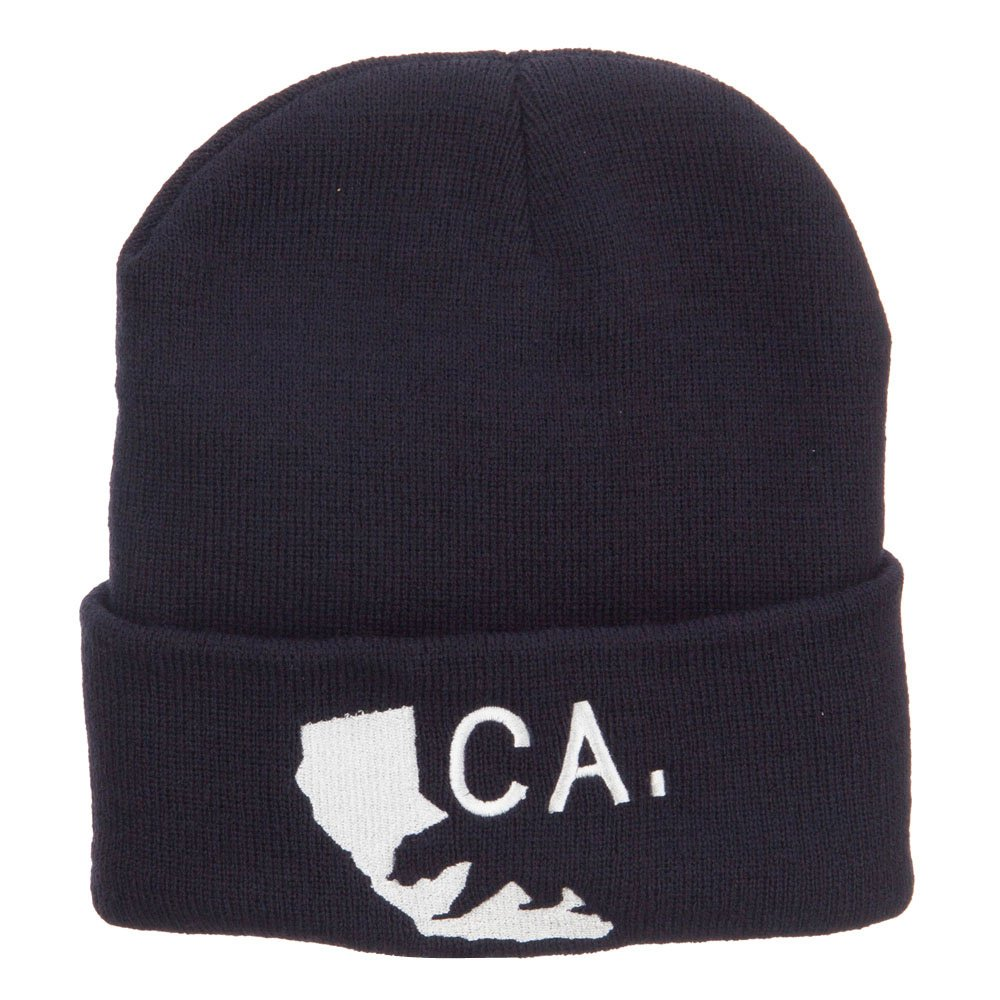 e4Hats.com California State and Bear Embroidered Long Beanie