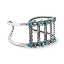 American West Sterling Silver Turquoise Gemstone Bar Bracelet Size S, M or L