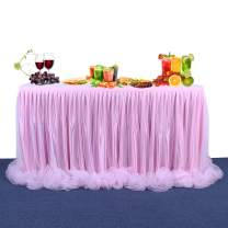 14ft Pink Tutu Tulle Table Skirt Table Cloth Table Skirt for Rectangle or Round Tables for Baby Shower, Wedding,Birthday, Party Decorations(5 Yards)